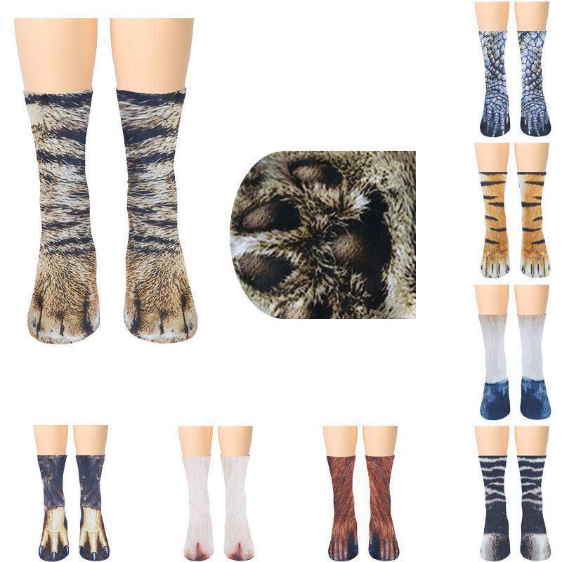Funny Unisex Adult//Kids Elastic Sock Animal Paw Feet Crew 3D Print Foot Socks FW