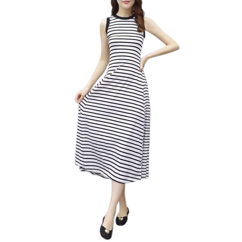 Women-Retro-Style-Summer-Elegant-Fashion-Striped-Sleeveless-A-Line-Long-Dress