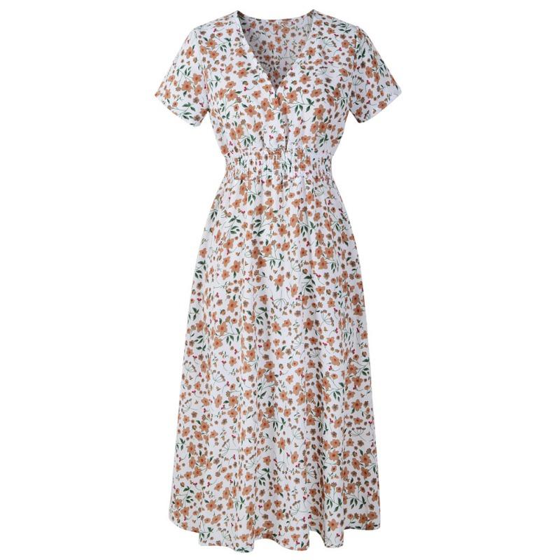 Womens-Small-Floral-Midi-Chiffon-Dress-Boho-V-Neck-Cocktail-Party-Beach-Sundress