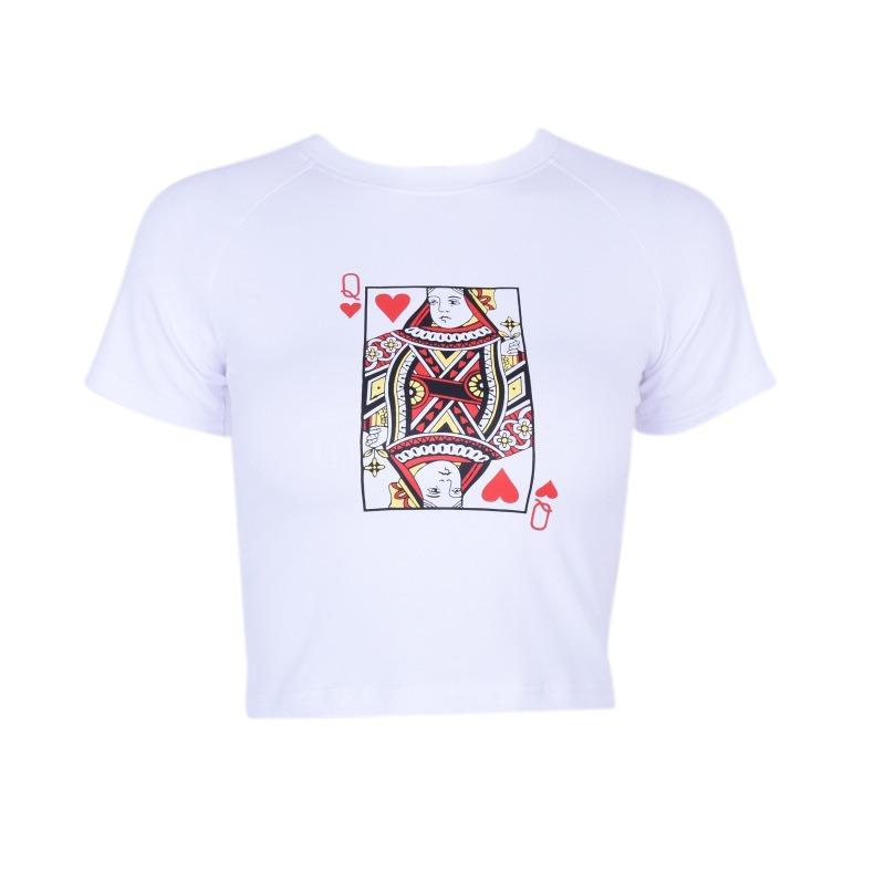 Women-Summer-Poker-Printed-Cotton-Strapless-Bustier-Crop-Tops-Tank-T-Shirt-Bra