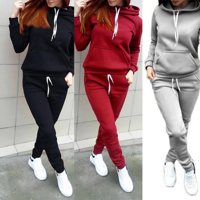 bd4761c4 Details about 2pcs/set Gym Sports Suit Women Hoodies Sweatshirt Pants  Casual Tracksuit Jogging