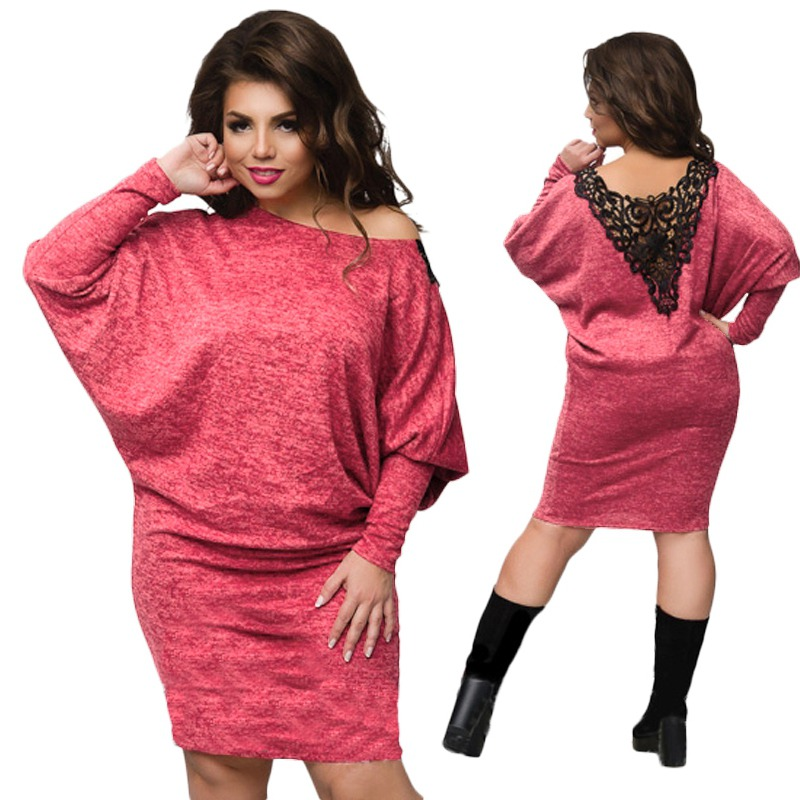 Women Plus Size Plus Size Batwing Sleeve Knit Bodycon Lace Loose