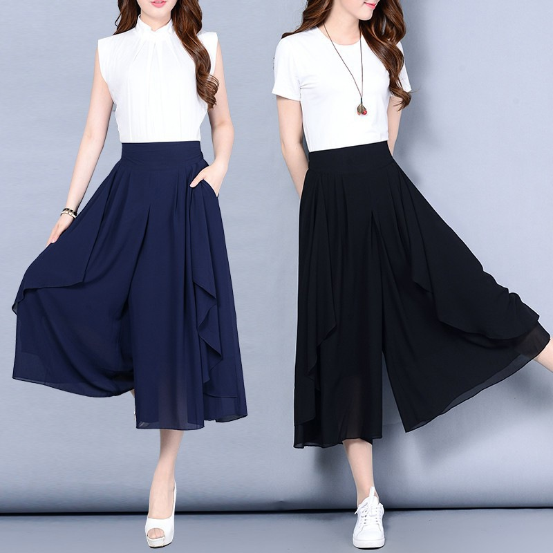 Details about Women\u0027s Solid Ladies Culottes Palazzo Trousers Summer Wide  Leg Pants Plus Size