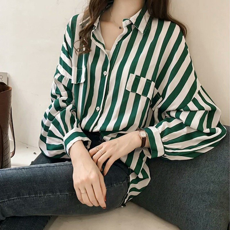 Women-Ladies-Vertical-Striped-Button-Loose-Blouse-Long-Sleeve-Slim-Tops-Shirts