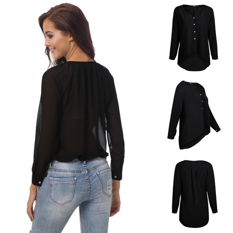 Women-Casual-Long-Sleeve-Top-Blouse-V-Neck-Plus-Size-Loose-Chiffon-TShirt-Dress