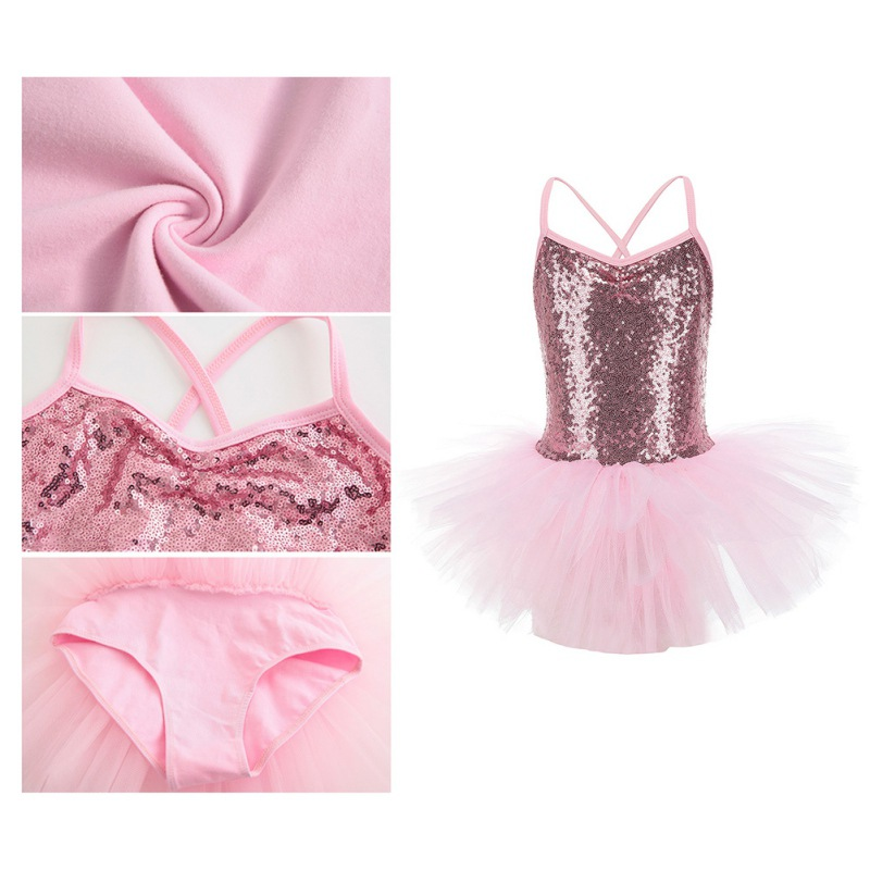 Toddler-Girl-Ballet-Dress-Tutu-Sequins-Leotard-Dance-Gym-Strap-Clothes-Outfits thumbnail 13