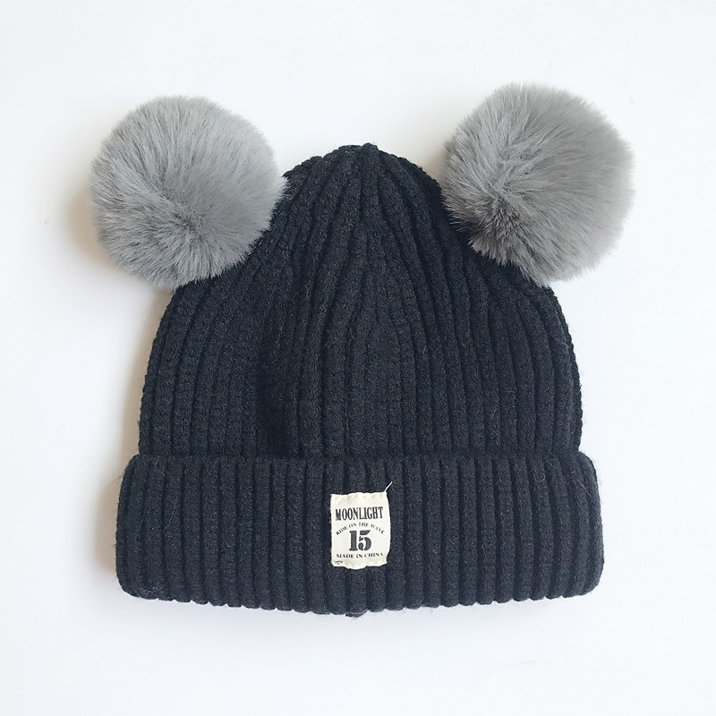 DE-Warme-Wintermuetze-Strickmuetze-Bommelmuetze-Kinder-Muetze-Kinder-Baby-Baumwolle