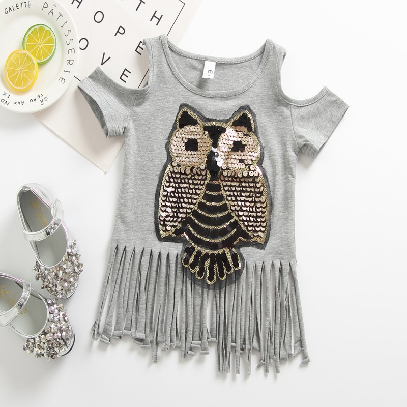 3-8T-Kids-Baby-Girls-Sequins-Tops-T-shirt-Blouse-Summer-Cartoon-Tassel-Clothes