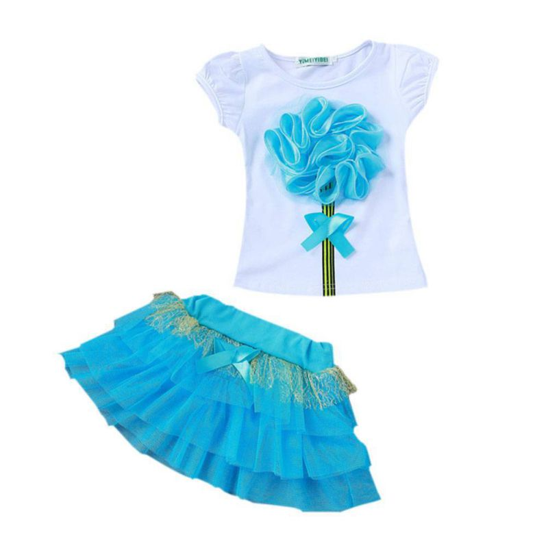 Kids-Baby-Girls-Summer-Clothes-Set-Princess-Party-Flower-T-Shirt-Tulle-Dresses