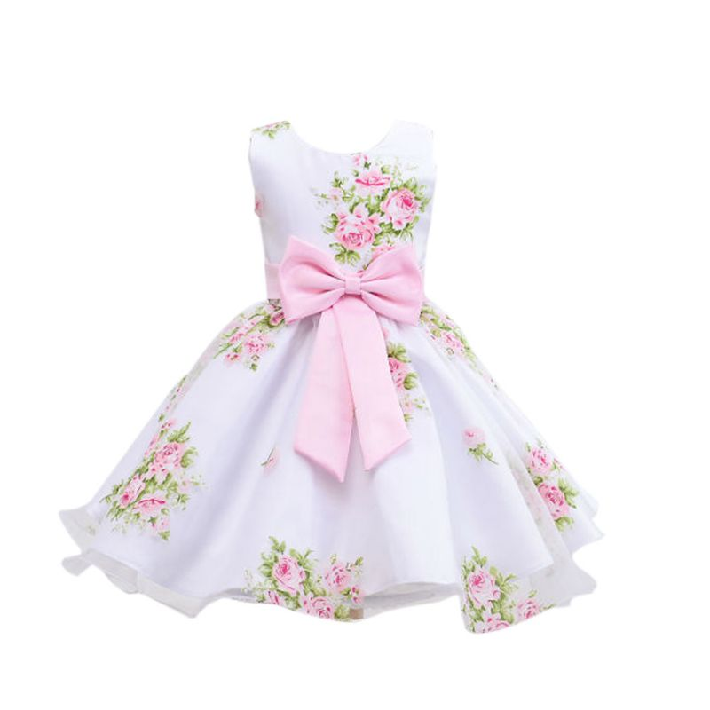 Baby girl princess floral big bow wedding dress pageant for Toddler girl wedding dresses