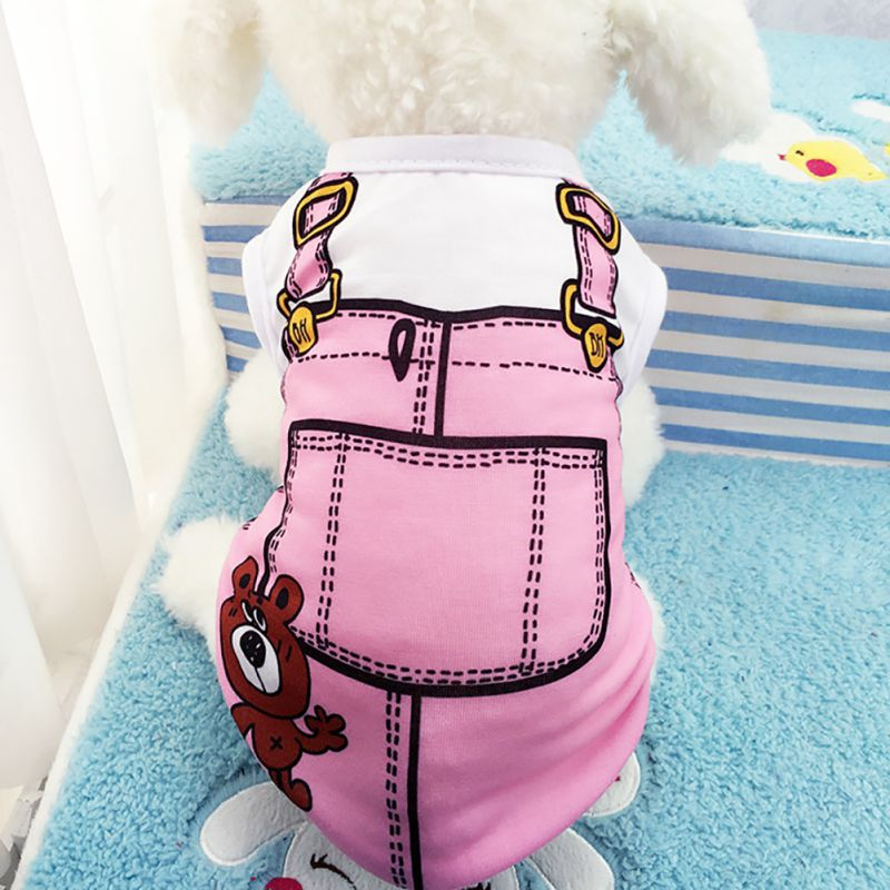 Perrito mascota Cartoon Shirt pequeño perro gato disfraces ropa chaleco T Shirt