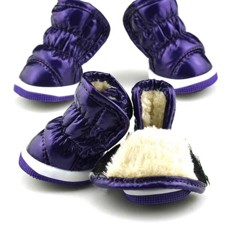 Winter Puppy Dogs Warm Shoes Soft PU Leather Waterproof