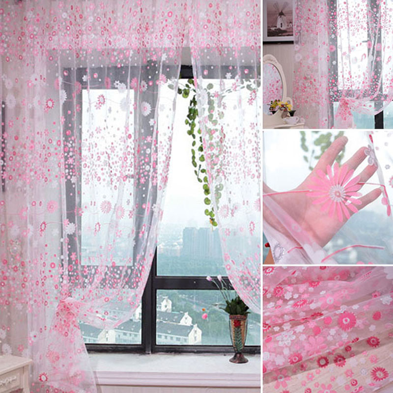 5 Colors Floral Tulle Voile Door Window Curtain. 5 Colors Floral Tulle Voile Door Window Curtain Drape Panel Sheer