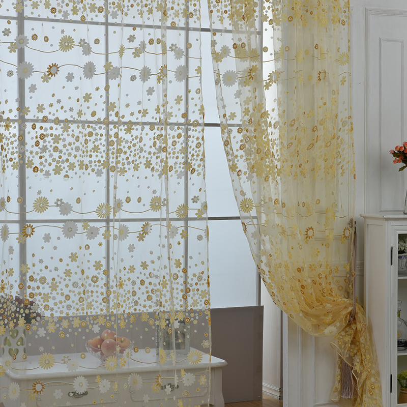 Stylish floral tulle voile door window curtain drape panel for Window voiles