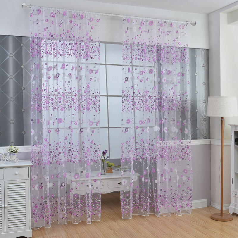 floral sheer voile scarf door window curtain drape panel tulle valances decor ebay. Black Bedroom Furniture Sets. Home Design Ideas