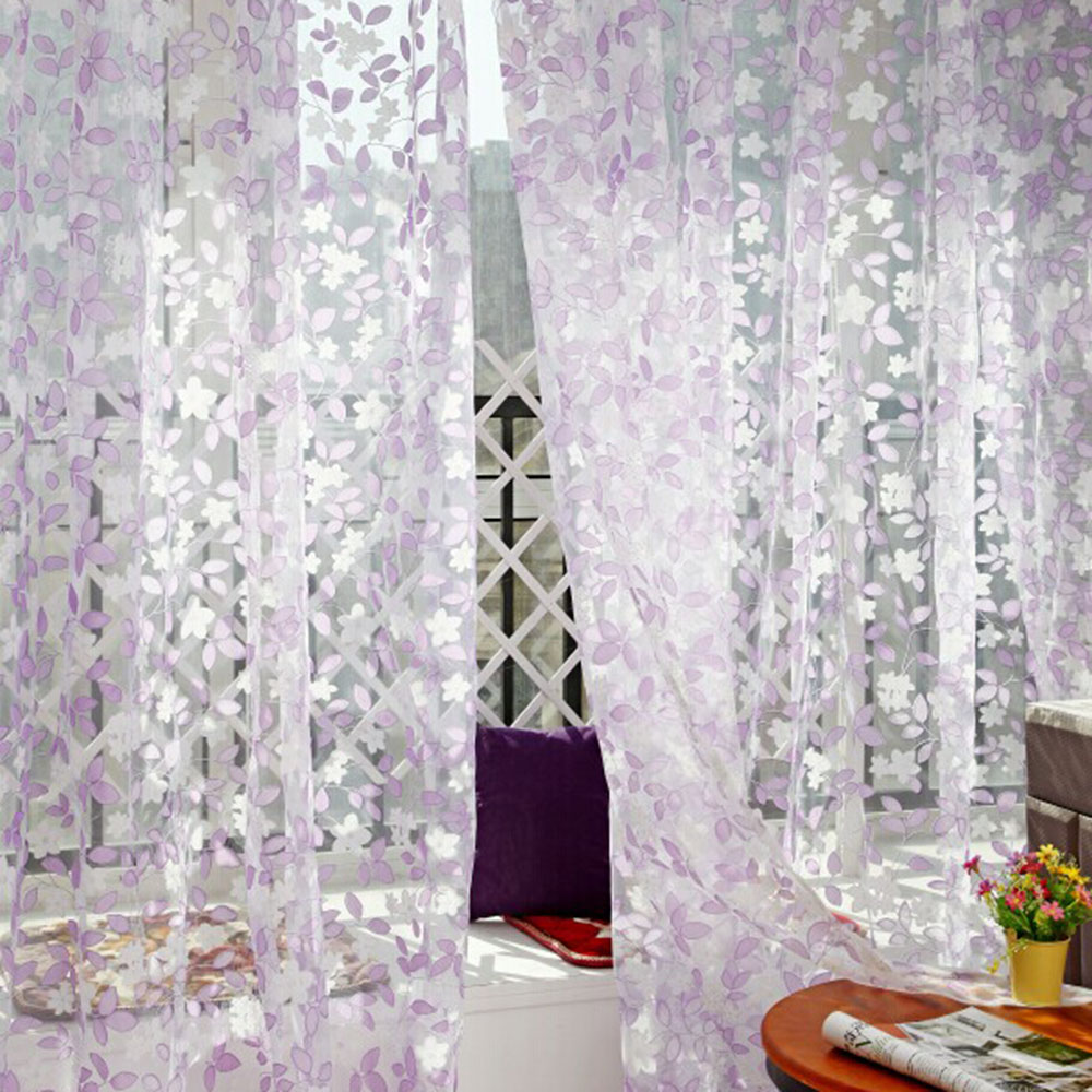 New tulle leaves pastoral window screens door balcony for Balcony curtains