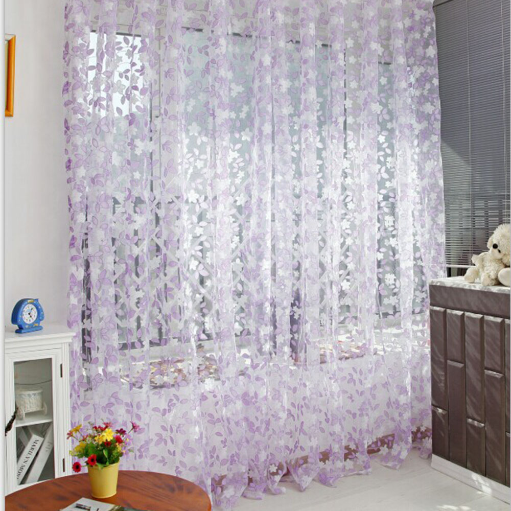 Multi Color Tulle Door Window Curtain Balcony Drape Panel Sheer ... for Sheer Lavender Curtains  104xkb