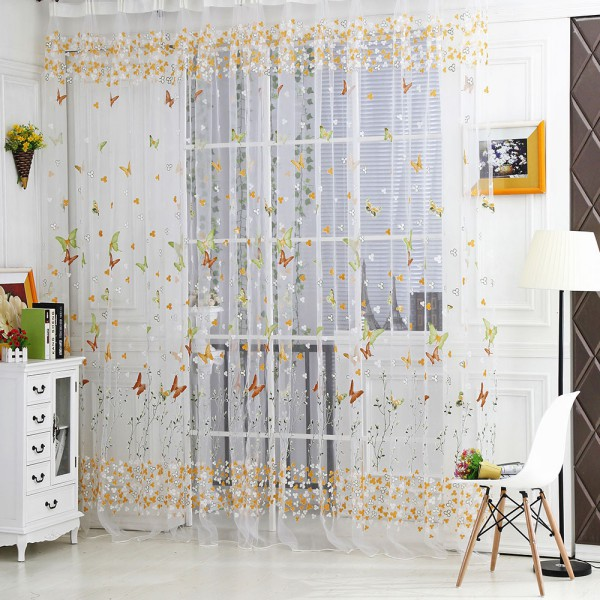 Curtains Ideas butterfly valance curtains : Butterfly Floral Tulle Voile Window Curtain Balcony Sheer Panel ...