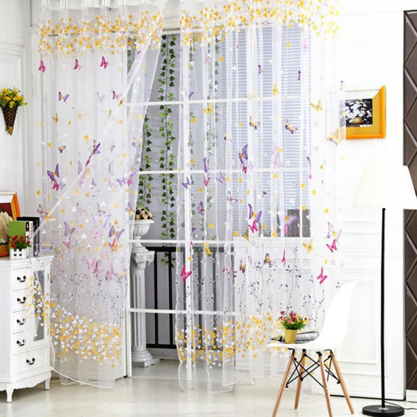 Tulle Voile Butterfly Window Curtains Door Room Balcony Background Panel Valance Ebay