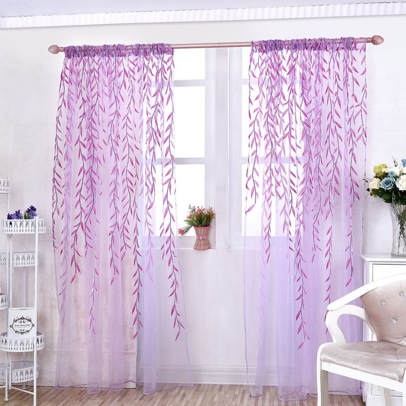 Balcony door curtain plants leaf tulle window screens for Balcony curtains