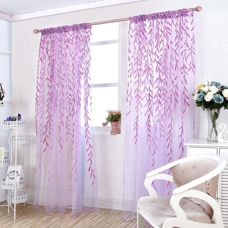 Luxury room voile window curtain sheer panel drapes home for Balcony curtains