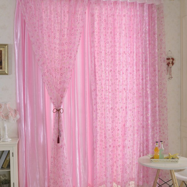 1 Pc Curtain And 1 Pc Tulle Peony Luxury Window Curtains: Chic Room Sheer Panel Curtain Peony Flower Voile Window