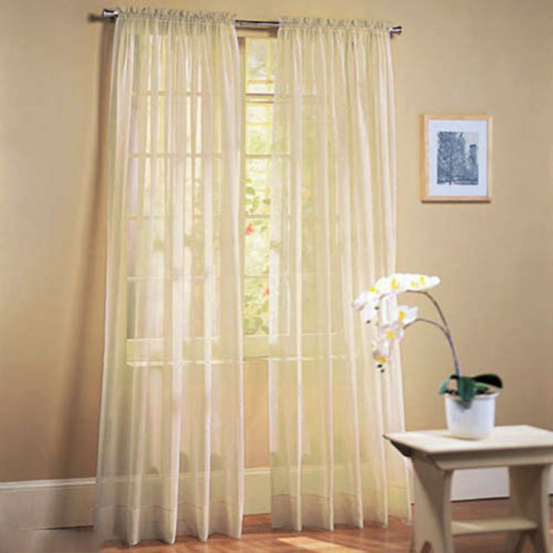 Door window curtain drape panel net slot top sheer voile for Window voiles