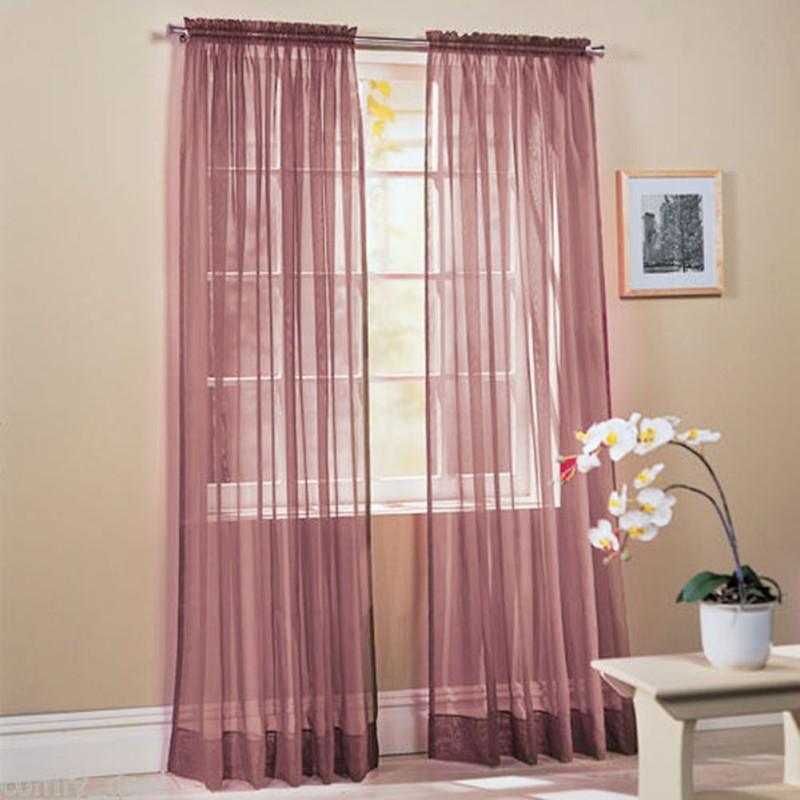 Hot scarf sheer voile door window curtains drape panel for Window voiles