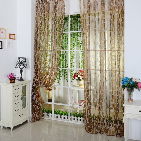 Leaf pattern voile window curtain sheer voile room panel for Patterned sheer curtain panels