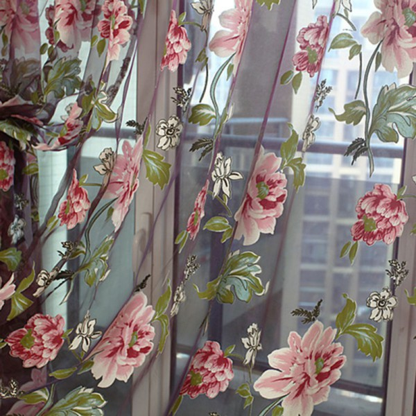 1pc Floral Tulle Window Curtain Panel Sheer Voile Drape Scarf Bead Valances S82