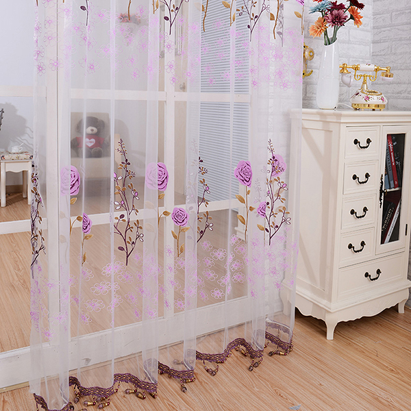 Floral beaded voile window net curtain sheer curtain panel for Door net curtains