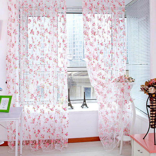 Butterfly Flower Bedroom Window Door Balcony Sheer Fancy
