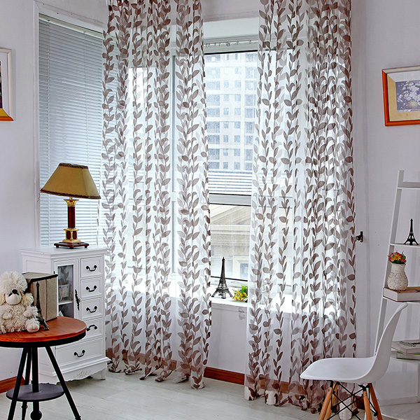 Nice door window leaves pattern valances sheer curtain for Patterned sheer curtain panels