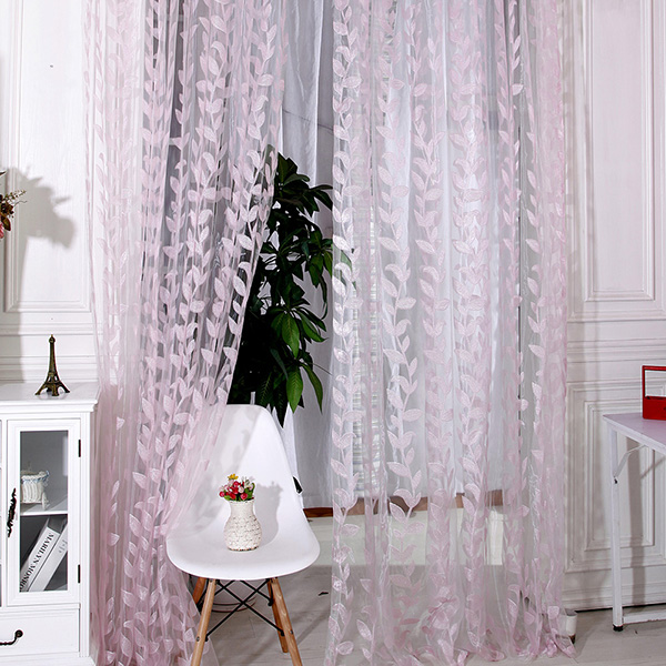 Leaves Printed Tulle Voile Window Curtain Door Drapes