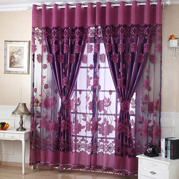 Floral Tulle Curtain Sheer Drape Panel Door Window Voile Sheer Scarf