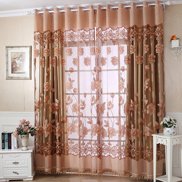 Upscale Floral Tulle Room Door Blackout Window Curtain Drape Panel ...