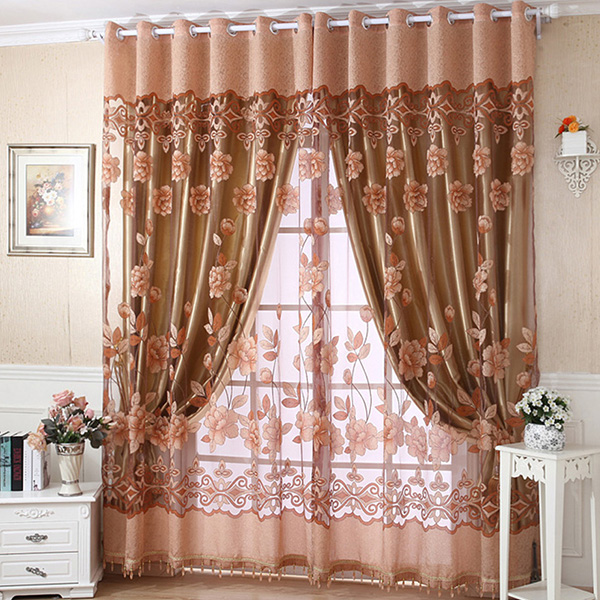 Us Luxury Window Blackout Tulle Curtain Floral Voile Room Drape