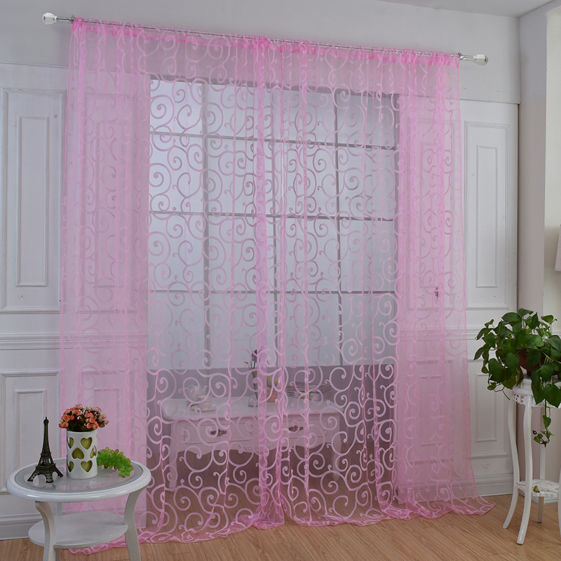hot window panel curtain room divider new floral sheer voile balcony tulle scarf ebay. Black Bedroom Furniture Sets. Home Design Ideas