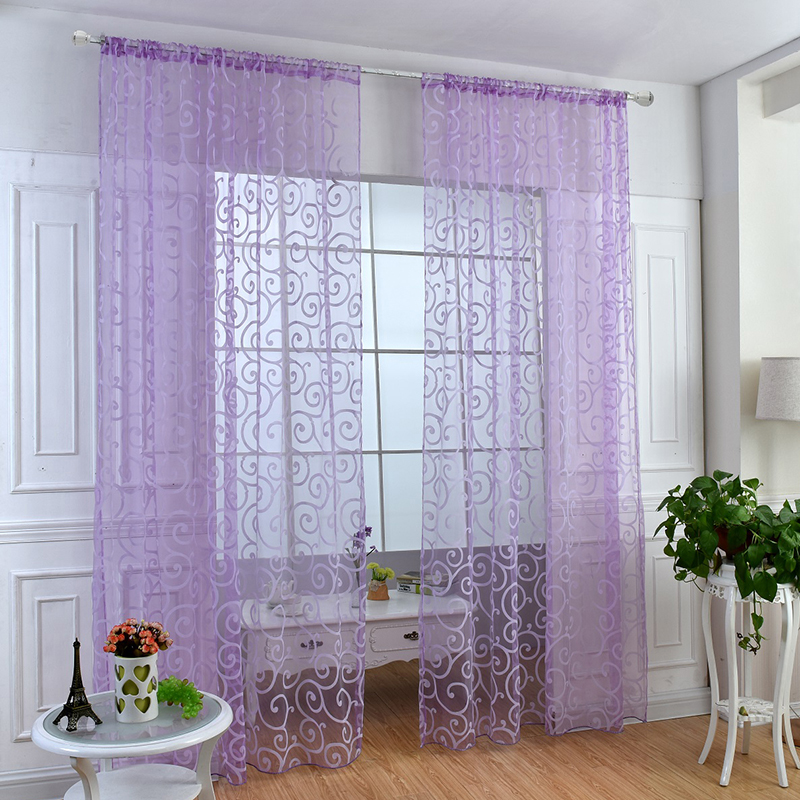 hot tulle voile home door window curtains drape panel sheer scarf valances decor ebay. Black Bedroom Furniture Sets. Home Design Ideas