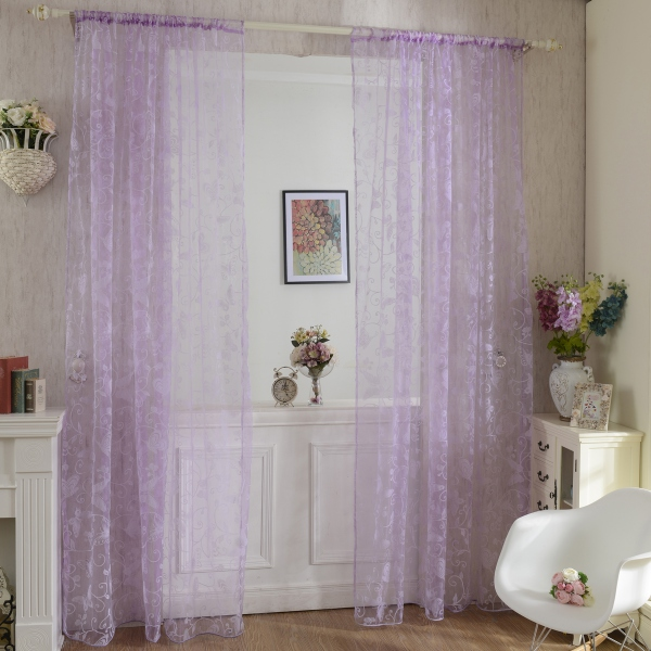 Sheer Voile Butterfly Window Curtain Home Door Drape Panel Divider Decoration