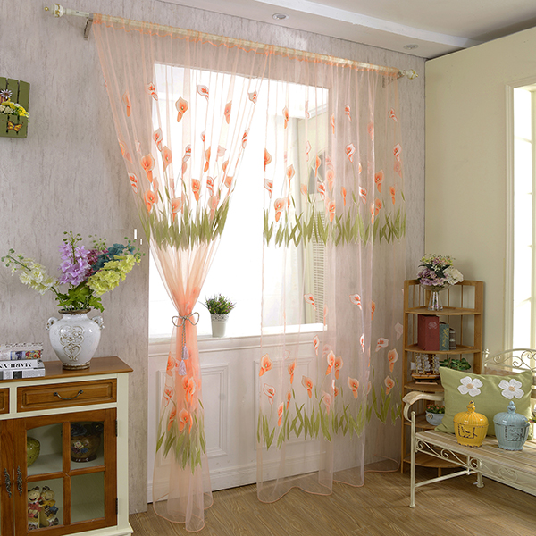 nice door drape panel room flower sheer voile curtain divider scarf window decor ebay. Black Bedroom Furniture Sets. Home Design Ideas