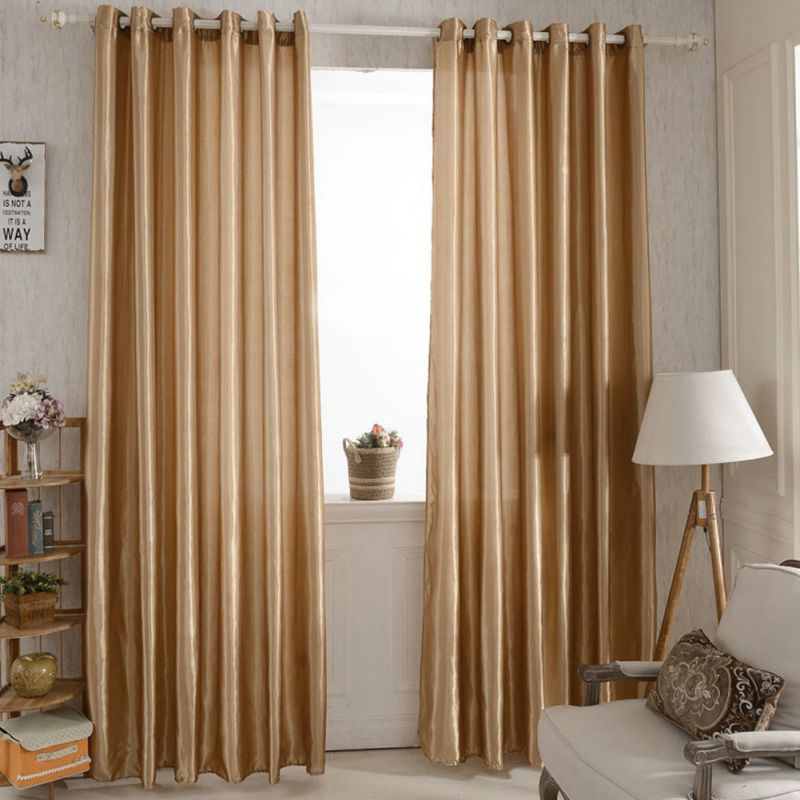Solid Lined Panel Thermal Blackout Balcony Window Room Curtain Drape Grommet