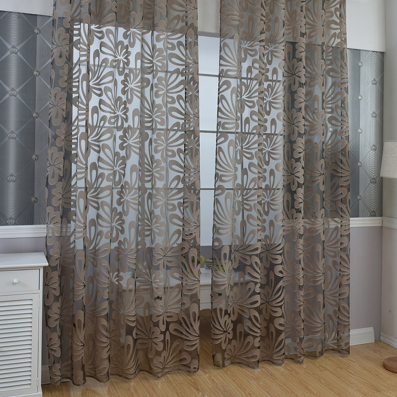 Room willow pattern voile window curtains sheer panel for Patterned sheer curtain panels