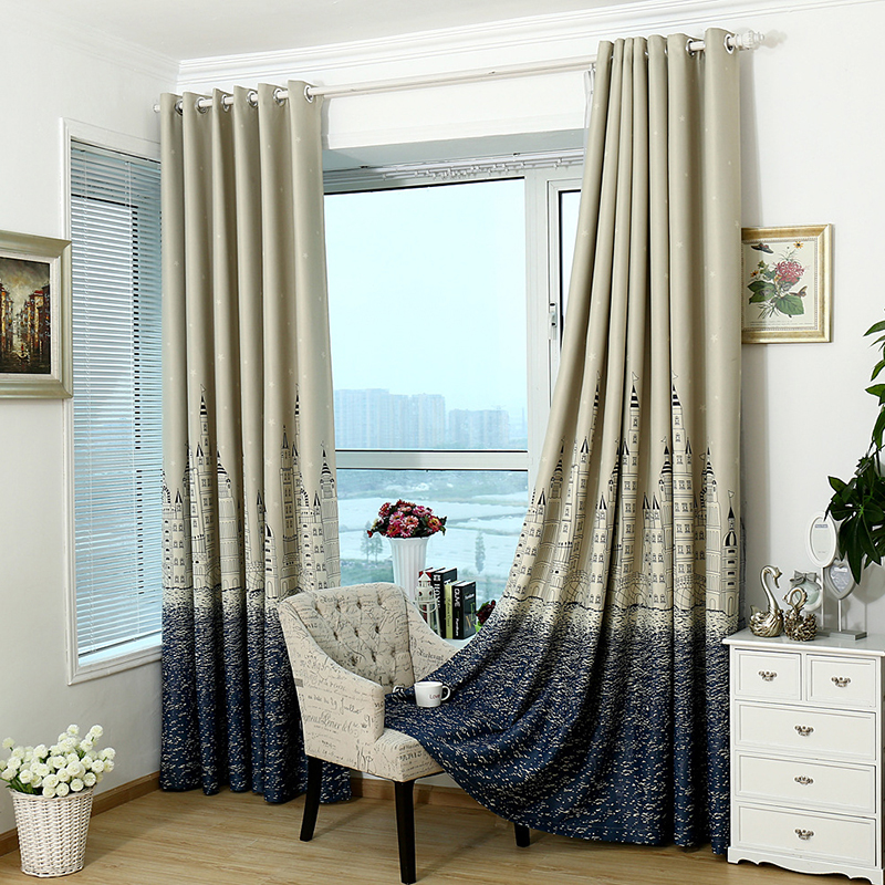 valance curtains for bedroom 1x castle print thicken valance shade cloth tulle drape 17682