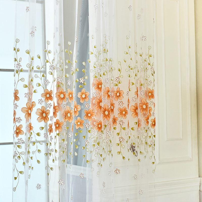 Kitchen Window Cafe Curtains: Fahion Flowers Home Room Kitchen Sheer Cafe Curtain Voile