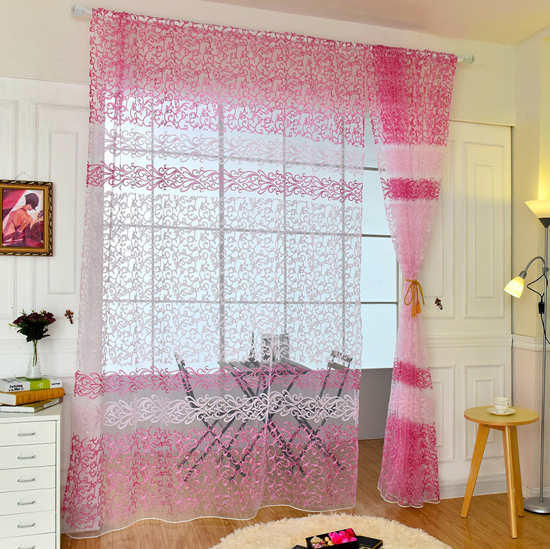 Romantic Floral Tulle Voile Door Drape Panel Home Scarf