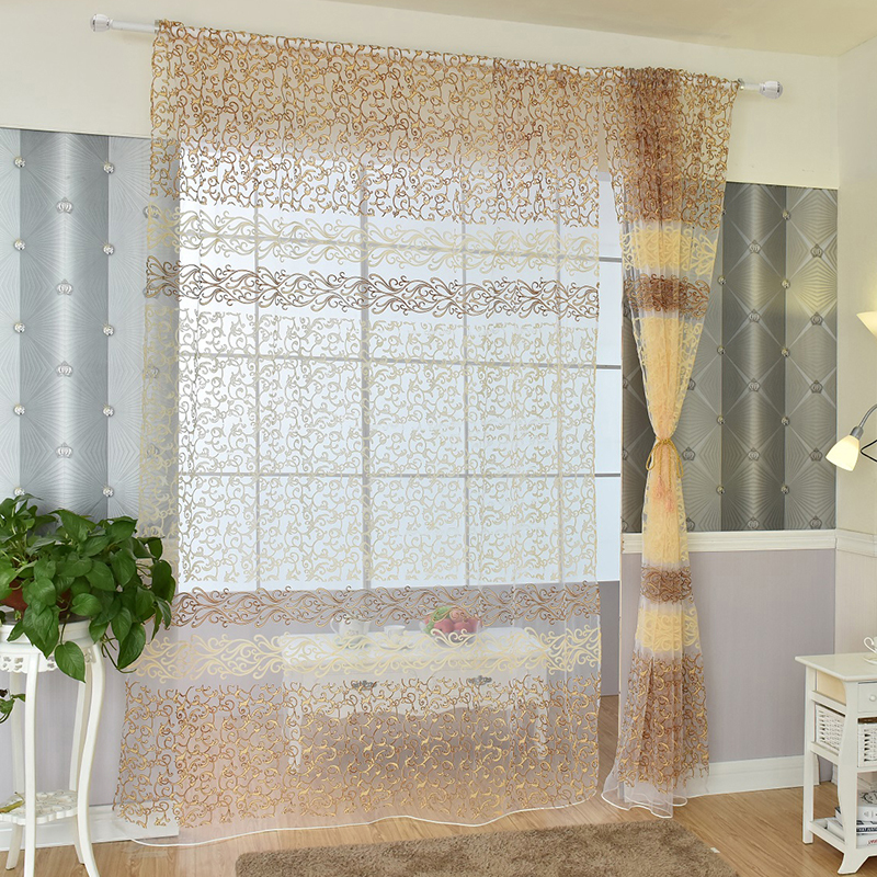 Flower voile window curtains room divider sheer panel for Window voiles