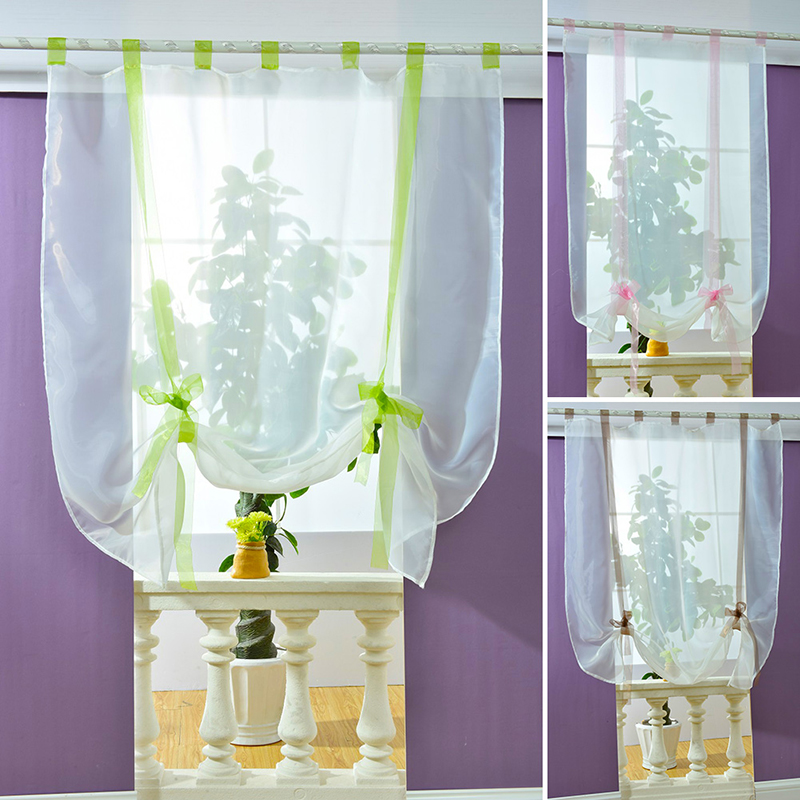 Kitchen Short Curtains Roman Blinds White Sheer Tulle: New Liftable Roman Blinds Sheer Kitchen Bathroom Balcony