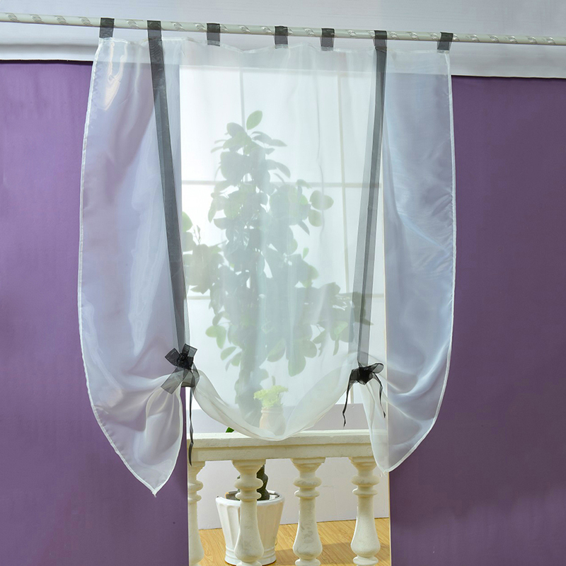 Modern roman liftable blinds sheer voile kitchen bathroom for Balcony curtains