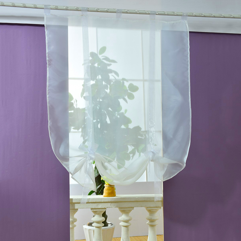 Kitchen Short Curtains Roman Blinds White Sheer Tulle: Voile Sheer Curtains Roller Curtain Kitchen Bathroom Tulle
